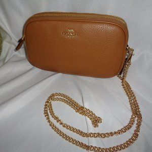 Coach F72490 Pebbled Crossbody Chain Strap Handbag